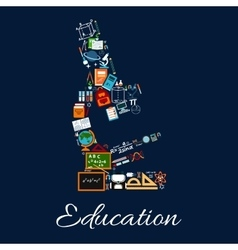 Education microscope symbol of science icons vector image