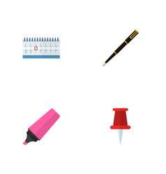 icon flat equipment set of highlighter pin vector image vector image