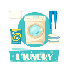 laundry and washing machine and linen vector image vector image