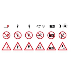 Set of Prohibition Signs vector image vector image