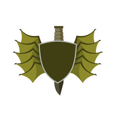 shield and bat wings emblem devil wing heraldry vector image