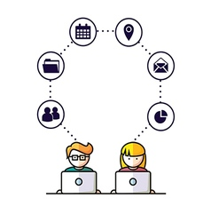 Social Media network people with computers vector image