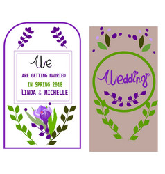 wedding invitation thank you card save the date vector image