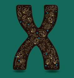letter x with golden floral decor vector image vector image