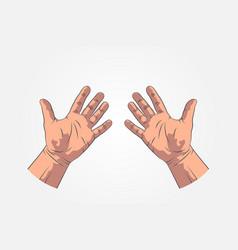 realistic sketch hands - gestures hand-drawn vector image vector image