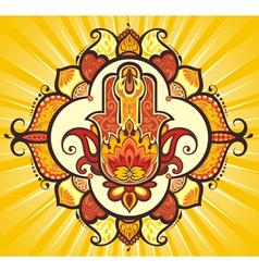 Hand hamsa with ethnic ornaments vector image vector image