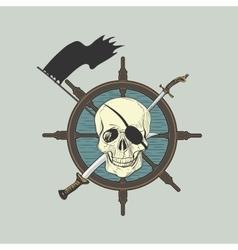 Label pirate theme vector image