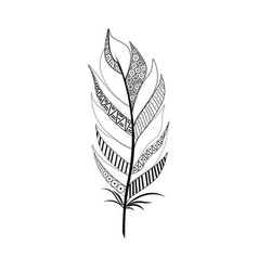 Large wide black white feather vector