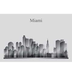 Miami city skyline silhouette in grayscale vector image vector image