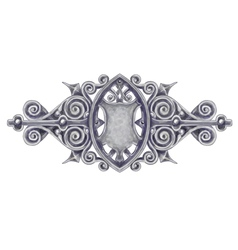 Ornated silver vintage decor with heraldic shield vector image vector image