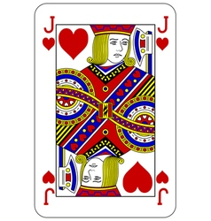 Poker playing card Jack heart vector image vector image