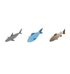 sea fish icon set isometric style vector image vector image