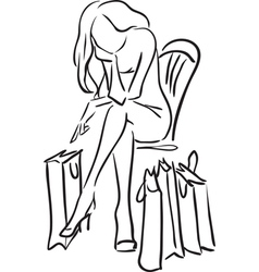 Series Shopping The woman tired from shopping vector image vector image