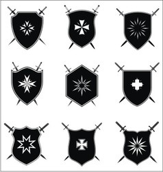 Shield with crossed sword set vector