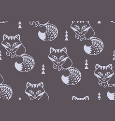 snow foxes seamless pattern with vector image vector image