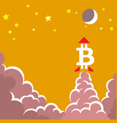 A bitcoin symbol like a rocket vector