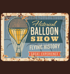 air balloon show rusty metal plate card vector image