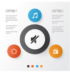 Audio icons set collection of music tuner vector