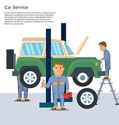 Auto mechanic in repair service center with car vector