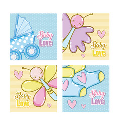 baby love cartoons cards vector image