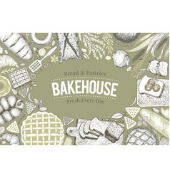 bakery top view frame hand drawn vector image