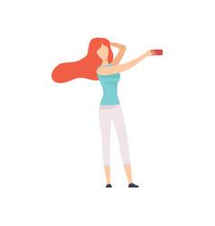 beautiful girl taking selfie photo on smartphone vector image
