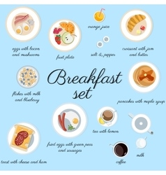 Big breakfast set isolated on blue top view vector image