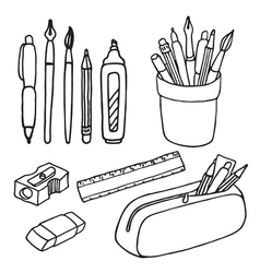 Brushes pencils pens ruler sharpener eraser icons vector image
