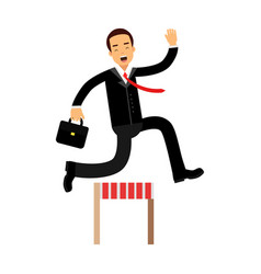 Businessman character racing over hurdle obstacles vector