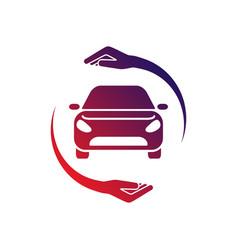 Car logo with circle hand colorful logo vector