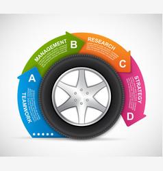 Car wheel infographic design template vector