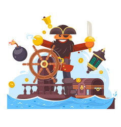 cartoon pirate with sword and hook on ship vector image