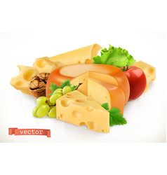 cheese fruits and vegetables 3d icon vector image