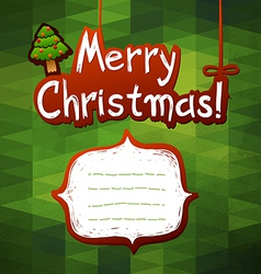 Christmas green card label for text vector