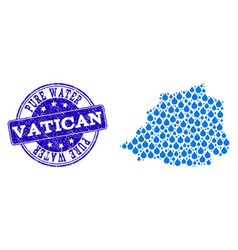 Collage map of vatican with water drops and grunge vector