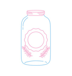 color line long mason glass with sticker and vector image