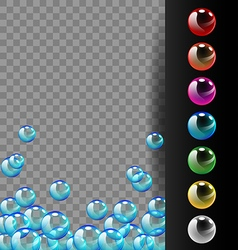 Colorful bubbles on translucent and black vector image