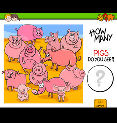 Counting pigs animals educational game vector