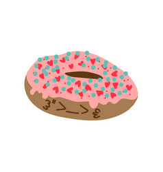 cute delicious glazed donut cartoon character vector image