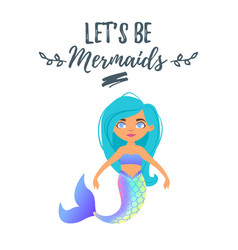 Cute mermaid character mermay concept vector