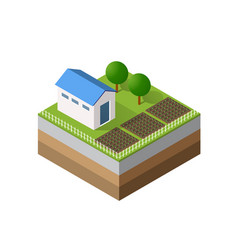 farm isometric three-dimensional vector image