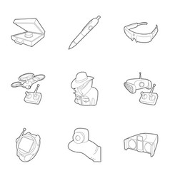 Fbi icons set outline style vector