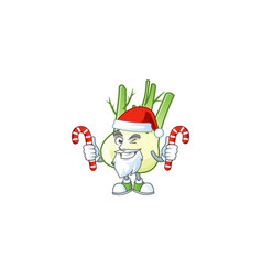 fennel cartoon character in santa claus with candy vector image
