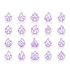 fire simple color line icons set vector image