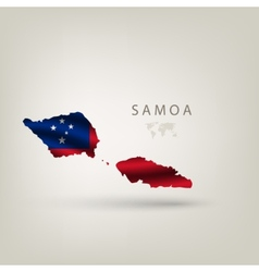 Flag of SAMOA as a country with a shadow vector