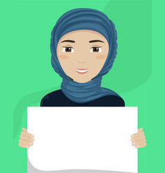 Flat a woman in hijab with a placard in her vector