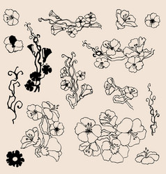 Flowers outlines a set of small floral twigs vector