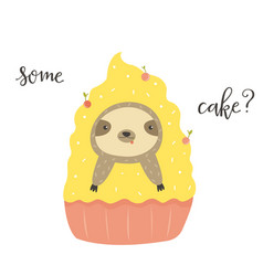 funny cute sloth in cake postcard poster vector image
