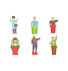 funny men giving speech at podium orators cartoon vector image