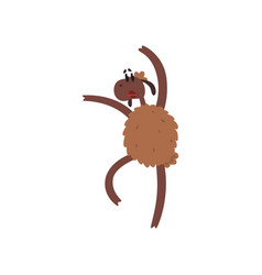 Funny sheep character jumping on two legs cartoon vector